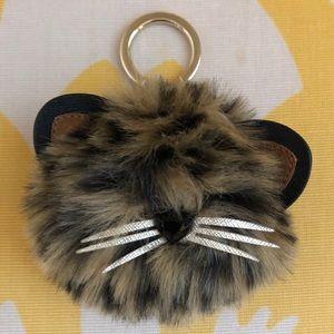 Kate Spade Cheetah Cat Pouf Keychain